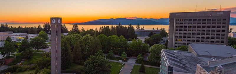 Contact us. Image shows a sunset image of the UBC Vancouver campus with a view of the islands, the ocean, the clock tower, and various buildings.