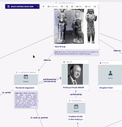 Screen showing virtual objects connected with lines indicating relations between objects, laid out on a digital knowledge map, including photos of statues, and photo of a person