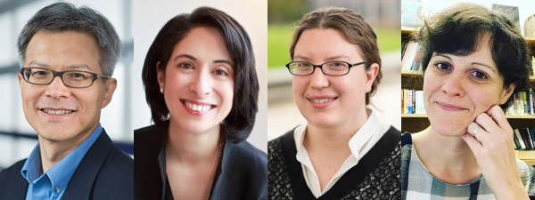 4 headshots side by side of the 2021-22 Public Humanities Hub Faculty Fellows: Leo Shin, Minelle Mahtani, Katherine Bowers, Colleen Laird