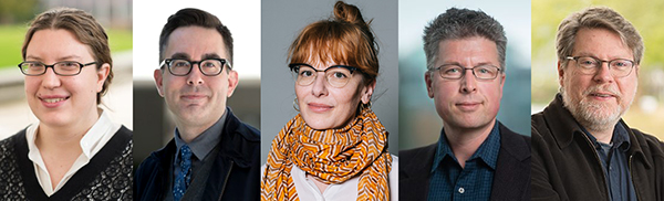 5 headshots side by side of the Principal Investigators of the 2020 Public Humanities Hub Research Clusters: Katherine Bowers, Gregory Mackie, Althea Thauberger, Erik Kwakkel, and Alan Richardson