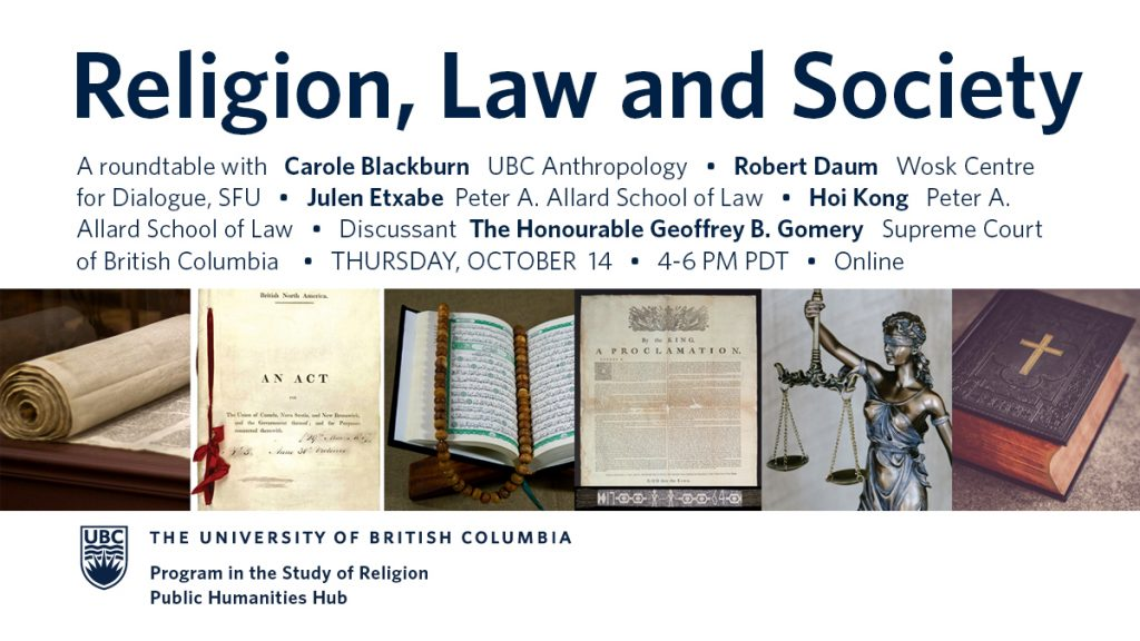Collaged photos of the Torah, British North America Act from Parliament of Canada, Qur'an, Royal Proclamation 1763 from Library and Archives Canada, 1764 Covenant Chain Wampum Belt from the Canadian Museum of History, Lady Justice statuette, and the Bible