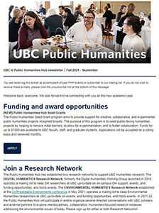 """Screenshot of top of Fall 2021 e-news showing """"Funding and award opportunities"""" and """"Join a Research Network"""" sections"""